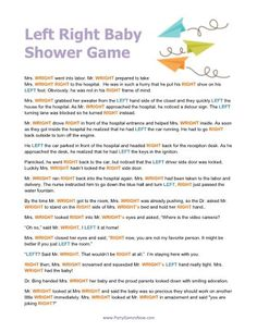 pass the prize game free printable | Printable Left Right Baby Shower Game Free Christian Game