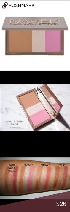 """Urban decay naked flushed palette This seriously GORGEOUS trio of bronzer, highlighter & the princess pink blush is a daily go-to! I use these individually or blend for a natural flush that's believable & I look put together in mins, easy to do a full face! Beautiful glow, the bronzer is,(light-med),  you will wonder how you lived without it!Pretty on every skin tone, doubles as shadow & lip color! trio is """"native"""". NEW/UNUSED/FULL SIZE. price FIRM unless bundling. ❌pp/trades/other sites. NO…"""