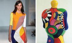Canvasses on the Catwalk: Art-Inspired Looks at London Fashion Week Weird Fashion, Fashion Art, Fashion Outfits, Fashion Design, Fashion Photo, London Fashion Weeks, Sonia Delaunay, Textile Prints, Textiles