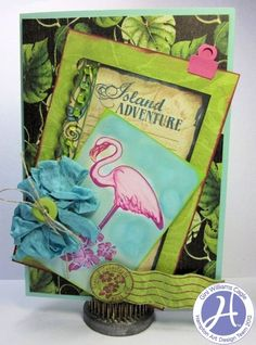Tropical Travelogue Card by Hampton Art Design Team Member Escarfullery WIlliams Cagle Hampton Art, Tropical, Travel Cards, Wood Stamp, Graphic 45, Scrapbook Paper, Scrapbooking, Ink Pads, Clear Stamps