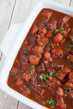 One of Nelson's favourite dishes is octopus stew (polvo guisado). He remembers soaking every last drop of the rich sauce from his plate with locally baked bread. This stew is wonderful with crusty bread for dipping the delicious sauce. Common sides are potatoes cooked right in the stew or a simple butter rice.