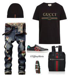 Gucci Down by tiffanymaria on Polyvore featuring polyvore, Gucci, men's fashion, menswear, clothing, urban, MensFashion, gucci and streetwear