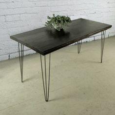 Tavolo Black Style: tavolo da cucina in legno massello e gambe in ferro