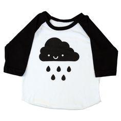 Play ball rain or shine in this adorable Kawaii Happy Rain Cloud 3/4 sleeve baseball raglan. The design is screen printed by hand in black on a Poly-Cotton blend Black & White American Apparel 3/4 sleeve raglan.