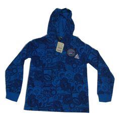 E-land Little Brenn Boys Long Sleeve Hood T-shirt Blue W/Patch  Height 150 CM #ELANDLittleBrenn #Everyday