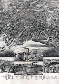 Plymouth, Mass., 1882. - Bird's-eye view. Relief shown pictorially. Includes index to points of interest and 6 illustrations of buildings.