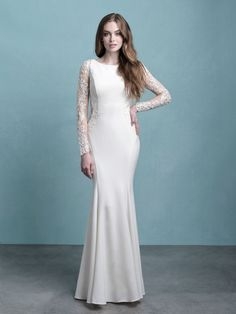 Style: 9773 | Allure Bridals Crepe Wedding Dress, Top Wedding Dresses, Wedding Dress Sleeves, Designer Wedding Dresses, Bridal Dresses, Wedding Gowns, Satin Dresses, Bridal Tops, Wedding Dress Boutiques