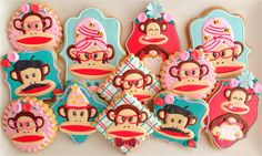 """""""Julius the Monkey"""" Paul Frank Inspired Cookies       By Compassionate Cake!"""
