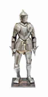 A VICTORIAN FIELD ARMOUR MADE FOR A BOY - IN 16TH CENTURY STYLE Comprising close-helmet with two-piece skull, roped comb, visor with two vision slits and lifting peg, upper bevor pierced with circular breaths, lower bevor shaped to the chin, and two gorget plates front and back, curiass comprising breast- and back-plate each with the principle edges turned and roped, tassets with simulated lames, full arm defences, fingered gauntlets, and full leg harnesses with sabatons, on wooden stand