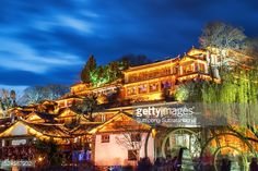 Stock Photo : Night view of traditional Chinese wooden building in the Old Town of Lijiang, Yunnan province, China. The Old Town of Lijiang is a popular tourist destination of Asia.