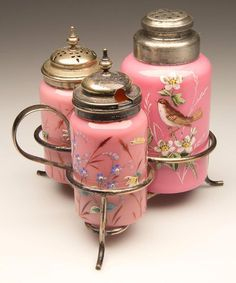 antique mt washington condiment sets | COLUMN - TALL AND WIDE THREE-BOTTLE CONDIMENT SET, opaque pink with ...