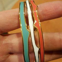 Stella & Dot Set of 3 Bangles Coral/Gold... Mint/Gold... White/Silver Great condition Stella & Dot Jewelry Bracelets