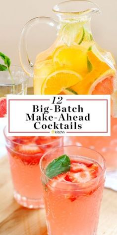 12 Big Batch Make Ahead Alcoholic Pitcher Cocktails. These boozy drinks or bever. - 12 Big Batch Make Ahead Alcoholic Pitcher Cocktails. These boozy drinks or beverages are great if y - Party Drinks Alcohol, Alcohol Drink Recipes, Cocktail Drinks, Cocktail Shaker, Cocktail Movie, Cocktail Sauce, Cocktail Attire, Fun Summer Drinks Alcohol, Brunch Drinks