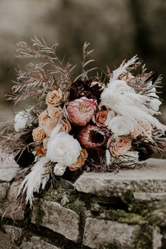 Having a hard time planning your wedding florals? when to start planning your wedding florals? Well if you need a solid wedding flower timeline, this blog post is for you. Also, take a look at this gorgeous fall wedding bouquet. White roses, pink roses, rosemary all in one bouquet and then some. If you need an elopement photographer in the great smokies, emily is your gal. She is an adventure wedding and elopements photographer in eastern tennessee. Winter Wedding Flowers, Rustic Wedding Flowers, White Wedding Bouquets, Bridal Flowers, Flower Bouquet Wedding, Bridal Bouquets, Floral Wedding, White Roses, Pink Roses