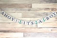 Baby Shower Party Decoration Banner - Nautical Decoration- Ahoy It's a boy