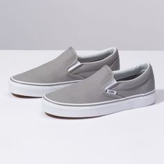 Shop Women's Vans Gray size Sneakers at a discounted price at Poshmark. Description: Vans Classic Slip On Sneakers (Wild Dove/True White). Women's Shoes, Cute Shoes, Me Too Shoes, Shoes Style, Vans Shoes Outfit, Dance Shoes, Grey Slip On Vans, Grey Vans, Purple Vans