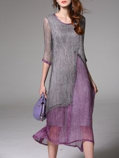 Casual Crew Neck 3/4 Sleeve Plain Silk Midi Dress