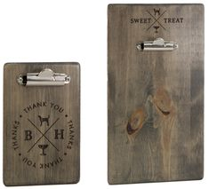 """Blue Hound's custom clipboards are distinctive and captivating. These great looking clipboards are 5/16"""" thick solid blue pine, have been stained with a light blue eco-friendly stain. The decoration is laser-engraved artwork that has a black color-fill. A matching check presenter complements this dessert clipboard"""