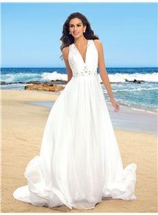 Simple V-Neck Beading Chiffon Beach Wedding Dress