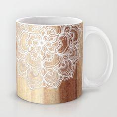 White doodles on blonde wood - neutral / nude colors Mug