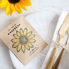 10 Personalised Sunflower Seed Packet Favours - seeds & bulbs