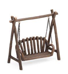 Miniature Timber Bench Swing | Miniature Fairy Gardens