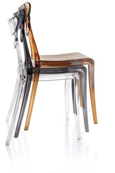 The Marlene chair, stacked. In transparent, smoke, and cola.