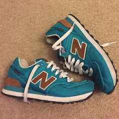 New balance 574 Teal and brown  574 Women's size 7 New Balance Shoes Sneakers