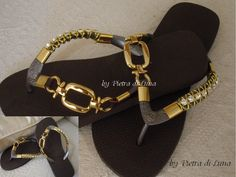 Havaiana Brown in Gold