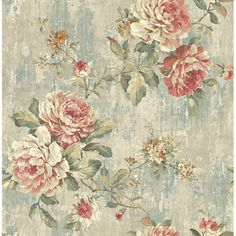 Ophelia & Co. Caffrey Blooming Rose L x W Wallpaper Roll Vintage Floral Fabric, Shabby Vintage, Vintage Flowers, Decoupage Vintage, Vintage Diy, Vintage Ideas, Vintage Walls, Go Wallpaper, Pattern Wallpaper