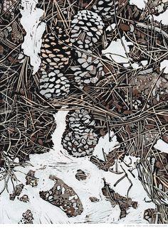 Sherrie York, Midwinter Debris, reduction linocut, hand printed on Hosho paper. Linocut Prints, Art Prints, Block Prints, Woodcut Art, Gravure Photo, Etching Prints, Linoprint, Art Graphique, Wood Engraving