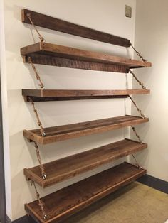 Reclaimed wood/rope shelves                                                                                                                                                                                 More