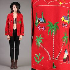 vintage MEXICAN wool SOUVENIR tourist JACKET wool embroidered folk art red coat 50s 1950s small medium S M
