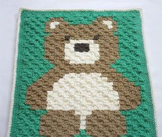 Crochet Bernat Blanket Bear - Repeat Crafter Me - corner to corner Baby Afghans, Crochet Afghans, Crochet C2c, Baby Afghan Crochet Patterns, Easy Crochet Blanket, Free Crochet, Crochet Crowd, Crochet Blankets, Knitting Patterns