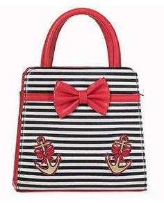 Banned-50s-Rockabilly-Stripe-Anchor-Hello-Sailor-Bow-Purse-Handbag-Bag-Black-Red
