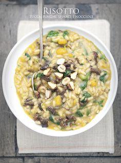 risotto zucca, funghi, spinaci e nocciole www.pane-burro.blogspot.it