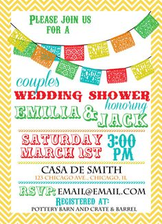 papel picado wedding shower invitation diy printing or prints