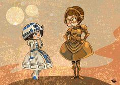 Droidettes Fancy Dress Star Wars inspired illustration print. $7.00, via Etsy.