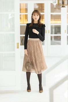 Stocking Tights, Cute Skirts, Asian Fashion, Pretty Girls, Actors & Actresses, Midi Skirt, High Waisted Skirt, Stockings, Lace