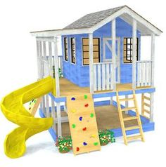 Elevated, 2 story children's playhouse plan with porch, slide, rockwall and ladder kids playhouse