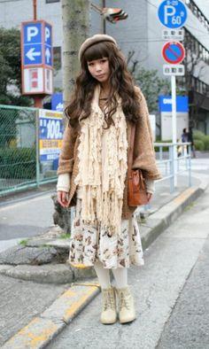Japanese mori girl street fashion