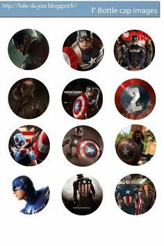 Free Bottle Cap Images: Captain America Free bottle cap images template downloable
