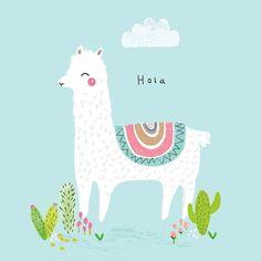 Aless Baylis for Petite Louise, Hola Llama Print Illustration & Patterns Alpacas, Llama Print, Llama Llama, Art Watercolor, Children's Book Illustration, Unicorn Illustration, Grafik Design, Cute Wallpapers, A4 Poster