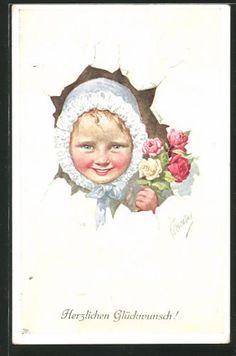 Artiste-AK-Karl-jour-ferie-fille-avec-hotte-et-avec-bouquet-regarde-par