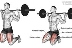 Barbell kneeling squat exercise