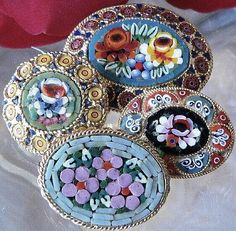 Intricate Antique Micro Mosaic GLASS BUTTONS.