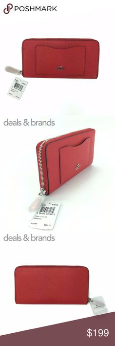 """NWT COACH Crossgrain Leather Accordion Zip Wallet COACH CROSSGRAIN LEATHER ACCORDION ZIP WALLET F54007 in BRIGHT RED ITEM NO: F54007 RETAIL PRICE: $250.00 COLOR: Bright Red CONDITION: NEW with TAGS, comes in Manufacturer Packaging with gift box  Crossgrain leather Silver hardware Twelve credit card slots Full-length bill compartments Zip coin pocket Zip-around closure Outside open pocket 7 1/2"""" (L) x 4"""" (H) Fits all phone sizes up to an iPhone X and Samsung S7 Edge Coach Bags Wallets"""