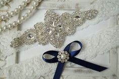 Wedding Garter Set, Bridal Garter Set, Vintage Wedding, Ivory Lace Garter, Crystal Garter Set, Something Blue on Etsy, $25.95