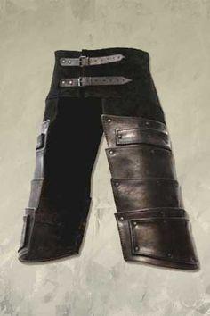 Armaduras das irmãs: Pernas.  Essa proteção de couro é usada por cima de uma calça de tecido mais resistente e quente.