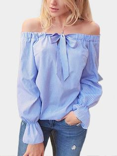 Autumn Women's Striped Double-Wearing Way Blouse For Woman Long Sleeve Tops Female Sexy Slash Neck Woman Off Shoulder TopsThis blouse is perfect for you. With off shoulder details and long sleeves, this blouse features self tie design that gives it a Diy Fashion, Fashion Outfits, Shirt Refashion, Edgy Look, Diy Clothing, Blouses For Women, Cute Blouses, Off Shoulder Blouse, Shoulder Tops